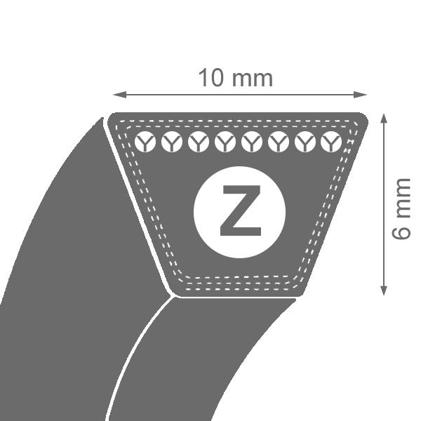 Curea de transmisie trapezoidala Z 10x6x2000 Li / 2038 La